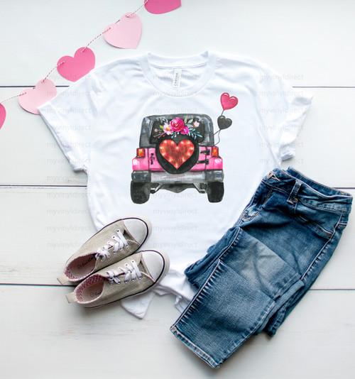 Valentine Heart Jeep | Sublimation Transfer
