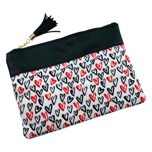 Hearts Zippered Tassel Make Up Pouch