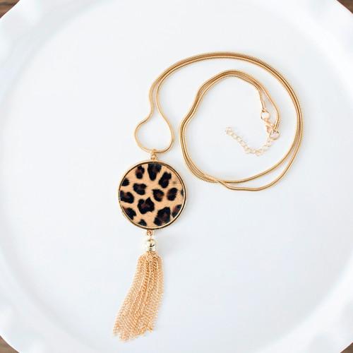 Gold Tassel Leopard Necklace