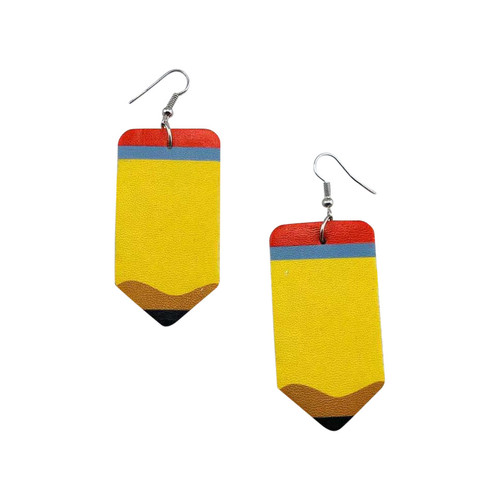 Pencil PU Leather Earrings