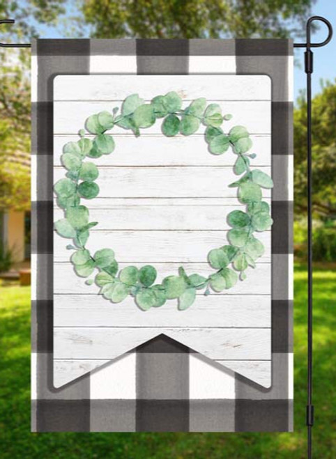 Farmhouse Wreath Garden Flag