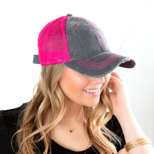 Neon Distressed Hats