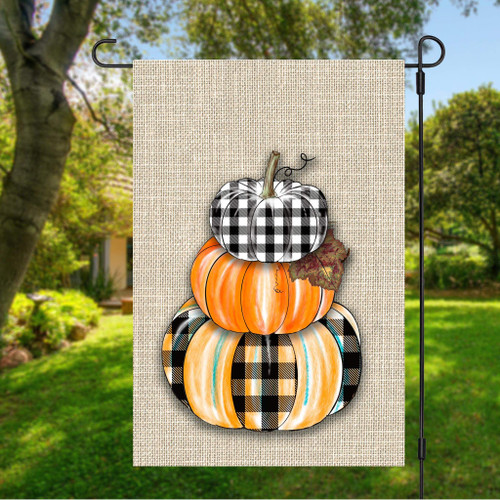 Fall Pumpkin Stack Garden Flag