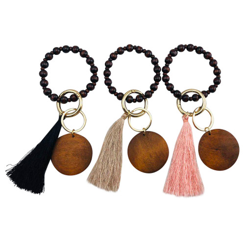 Wood Disc Tassel Bead Bracelet