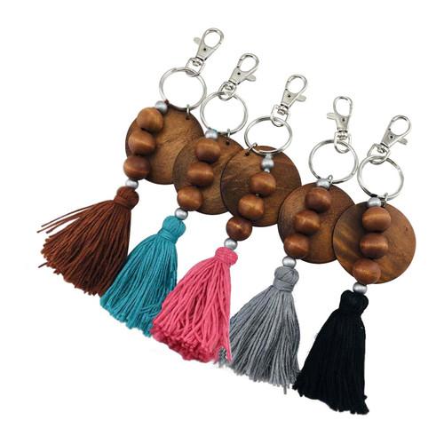 Wood Disc + Bead Tassel Key Chain