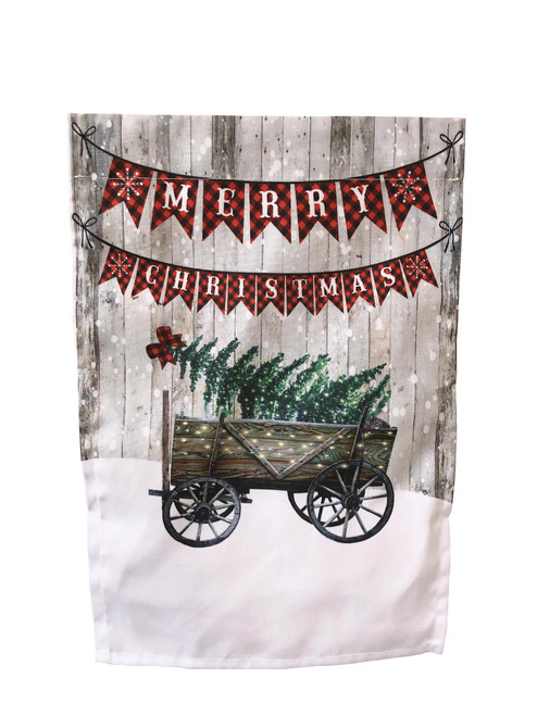 Merry Christmas Wagon Garden Flag