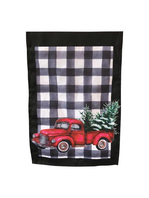 White Plaid Christmas Truck Garden Flag