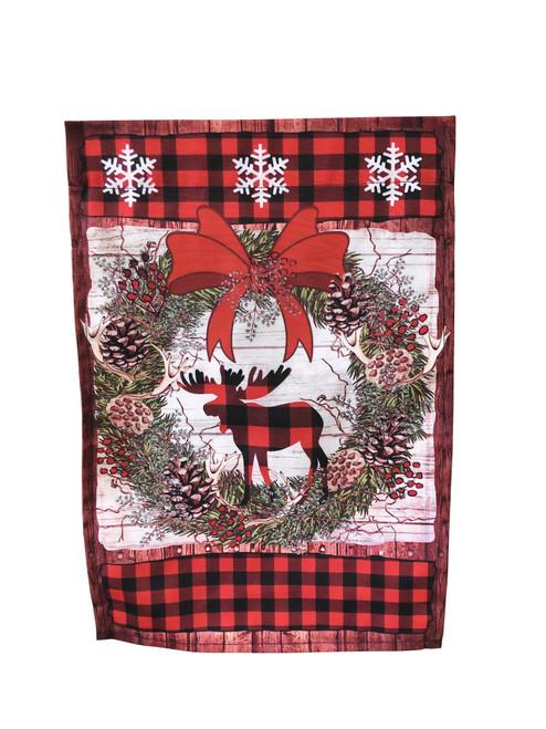 Red Moose Christmas Wreath Garden Flag
