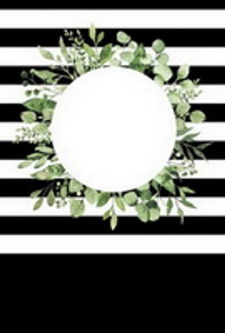 Black/White Stripe Skinny Wreath Garden Flag