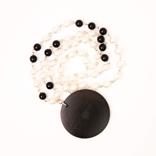 Black Wooden Round Necklace with Pearl Chain