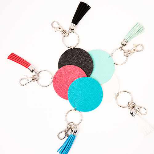 Leather Disc with Tassel Key Chain
