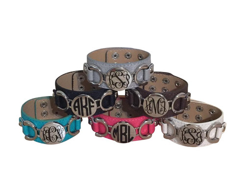 Leather Cuff Bracelet personalized with Gloss Vinyl 651