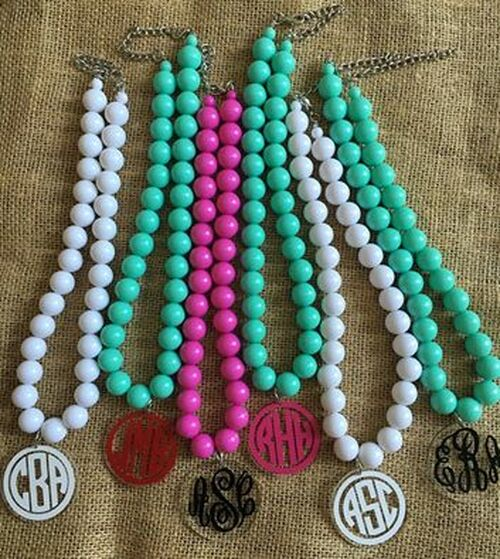 Chunky Bead Necklaces can be personalized with our Gloss 651 vinyl & Glitter vinyl.