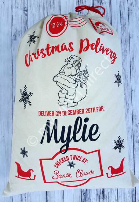 Santa Sack Christmas Delivery Style: Shown personalized with child's name.