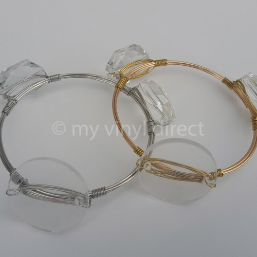 Crystal & Wire Bangle Jewelry Blanks. Available in Silver or Gold.