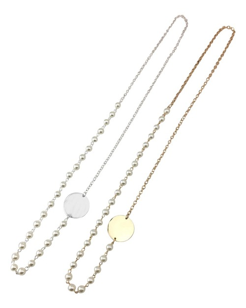 Sideways Pearl Disc Necklace