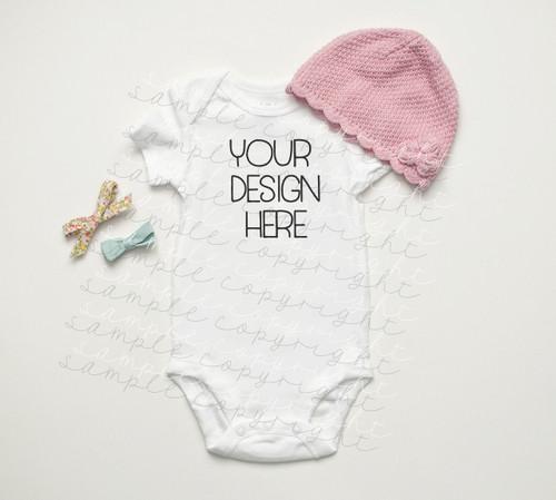 White Baby Onesie Mock-Up #3