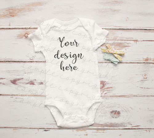 White Baby Onesie Mock-Up #5