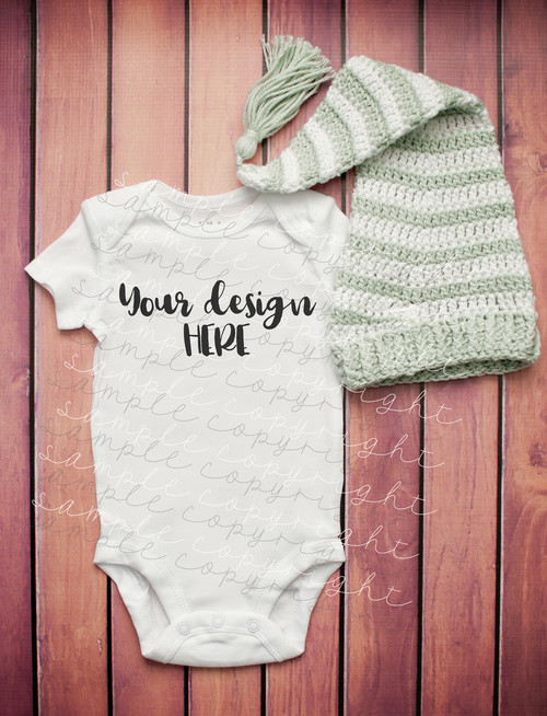 White Baby Onesie Mock-Up #7