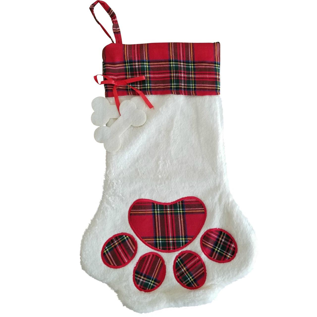 Dog Christmas Stocking.Dog Paw Plaid Christmas Stocking