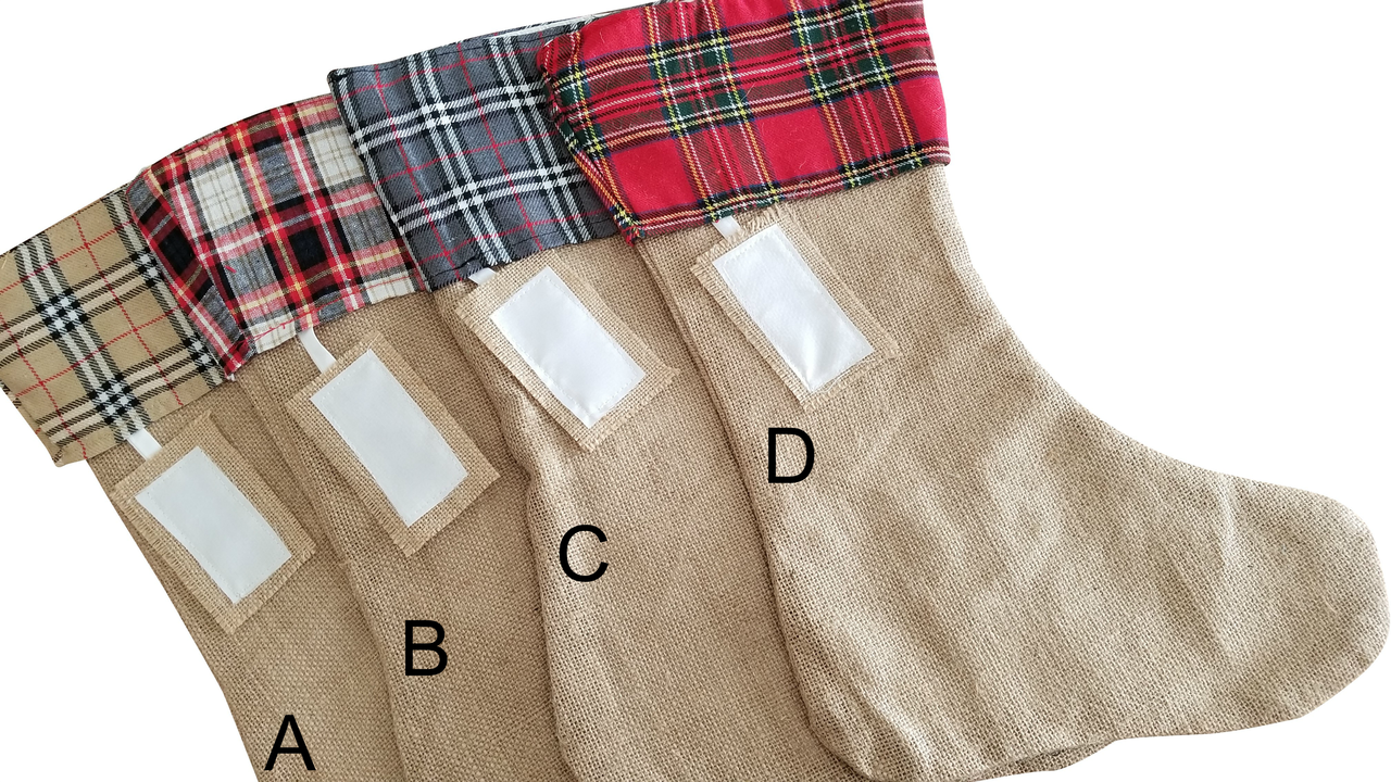 Final Sale Plaid Cuff Christmas Stocking,Country Cottage Decor Uk
