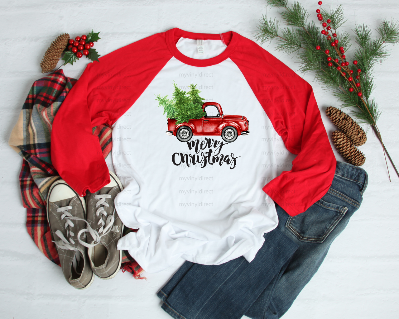 Christmas Jeep Silhouette.Merry Christmas Red Truck Sublimation Transfer