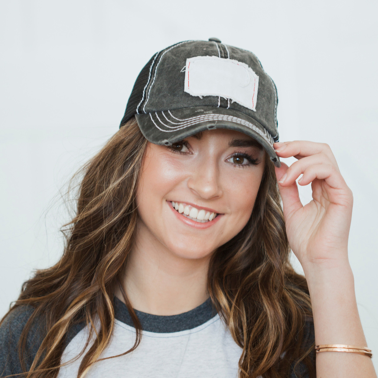 83cf1f25 Patch Distressed Hat Black ...