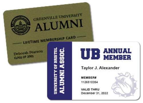plastic alumni cards