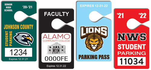 student parking permit hang tags