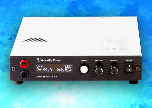 BENCH XR Series are compact Programmable 600W DC Power Supplies with Extended Range. The BENCH XR Series is a high-density 1U design which measures just 1.73 in. (44 mm) High x 8.82 in. (224 mm) Wide x 10.30 in. (262 mm) Deep and Weighs only 5.8 lbs. (2.6 Kg). BENCH XR Series offer output power to 600 Watts, DC output current to 33 amps and DC output voltage to 400V.  BENCH XR Series of 600W Programmable DC Power Supplies have received Certification as LXI conformant. LXI is an instrument connectivity standard that allows engineers to access their instruments remotely via a built-in Ethernet interface.  Full Digital Control – the Fastest and Most Accurate Available. SCPI Compliant USB with LabVIEW Driver and Analog Control Ports. Digital Encoders for Excellent Reliability and Accuracy. Wireless Digital Remote Sense. Built-In Voltage and Current Measurement. Full OCP (Over-Current Protection) and OVP (Over-Voltage Protection) Protection. The built-in OLED (organic light-emitting diode) front panel simultaneously shows both voltage and current readings, along with ease of setup and complete power supply status information.
