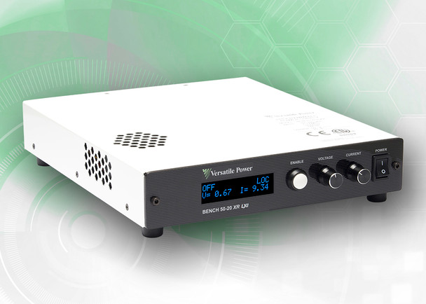 BENCH 100-10 XR RO  BENCH XR RO Series are compact Programmable 600W DC Power Supplies with Extended Range. The BENCH XR RO Series is a high-density 1U design which measures just 1.73 in. (44 mm) High x 8.82 in. (224 mm) Wide x 10.30 in. (262 mm) Deep and Weighs only 5.8 lbs. (2.6 Kg). BENCH XR RO Series offer rear output terminals, output power to 600 Watts, DC output current to 33 amps and DC output voltage to 400V.  BENCH XR RO Series of 600W Programmable DC Power Supplies have received Certification as LXI conformant. LXI is an instrument connectivity standard that allows engineers to access their instruments remotely via a built-in Ethernet interface.  Full Digital Control – the Fastest and Most Accurate Available. Rear Output Terminals. SCPI Compliant USB with LabVIEW Driver and Analog Control Ports. Digital Encoders for Excellent Reliability and Accuracy. Wireless Digital Remote Sense. Built-In Voltage and Current Measurement. Full OCP (Over-Current Protection) and OVP (Over-Voltage Protection) Protection. The built-in OLED (organic light-emitting diode) front panel simultaneously shows both voltage and current readings, along with ease of setup and complete power supply status information.