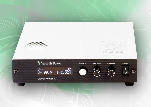 BENCH 400-2.5 XR RO  BENCH XR RO Series are compact Programmable 600W DC Power Supplies with Extended Range. The BENCH XR RO Series is a high-density 1U design which measures just 1.73 in. (44 mm) High x 8.82 in. (224 mm) Wide x 10.30 in. (262 mm) Deep and Weighs only 5.8 lbs. (2.6 Kg). BENCH XR RO Series offer rear output terminals, output power to 600 Watts, DC output current to 33 amps and DC output voltage to 400V.  BENCH XR RO Series of 600W Programmable DC Power Supplies have received Certification as LXI conformant. LXI is an instrument connectivity standard that allows engineers to access their instruments remotely via a built-in Ethernet interface.  Full Digital Control – the Fastest and Most Accurate Available. Rear Output Terminals. SCPI Compliant USB with LabVIEW Driver and Analog Control Ports. Digital Encoders for Excellent Reliability and Accuracy. Wireless Digital Remote Sense. Built-In Voltage and Current Measurement. Full OCP (Over-Current Protection) and OVP (Over-Voltage Protection) Protection. The built-in OLED (organic light-emitting diode) front panel simultaneously shows both voltage and current readings, along with ease of setup and complete power supply status information.