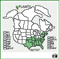Amsonia tabernaemontana USA Native Range Map