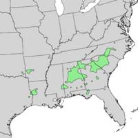 Acer saccharum v. leucoderme USA Range Map