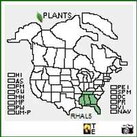 Rhododendron alabamense native range map
