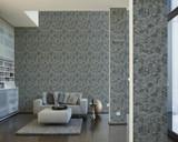 RW6702 Grey/Green Metallic Geometric Wallpaper