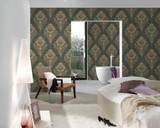 RW6691 Green Damask/Baroque Wallpaper