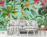 Colourful birds in the tropical scene