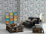 RW59381201A  Colourful Floral/Animal Wallpaper