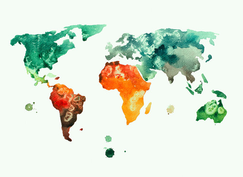 Colourful world  map 3 Mural
