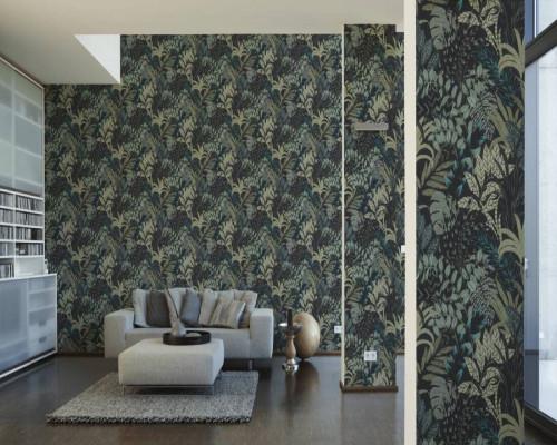 RW6707 Green/Black Foliage Wallpaper