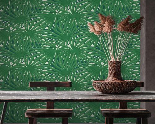RW6733 Green Palm Leaves Wallpaper