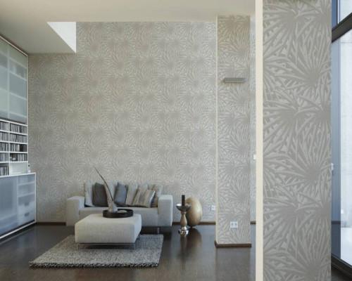 RW6724 Grey Palm Leaves Wallpaper
