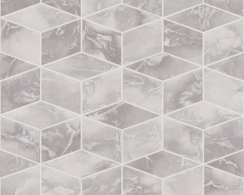 RW6701 Grey Metallic Geometric Wallpaper