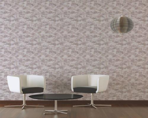 RW6703 Pink/White Metallic Geometric Wallpaper