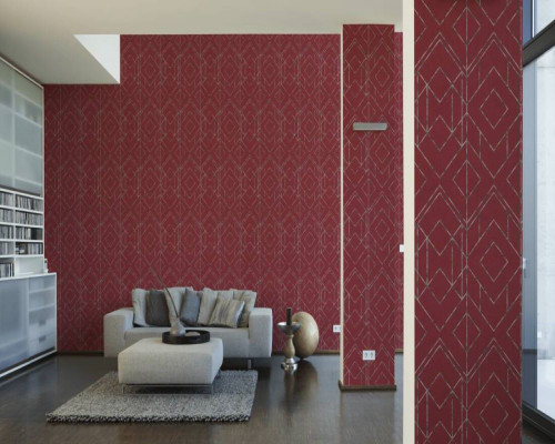 RW6644 Red Geometric Wallpaper