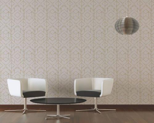 RW6642 Beige Geometric Wallpaper