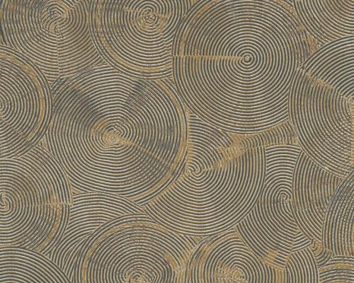 RW6711 Black/Beige Circle Wallpaper