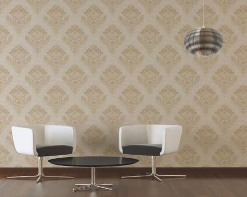 RW6690 Beige Damask/Baroque Wallpaper