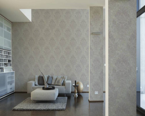 RW6693 Beige/Grey Damask/Baroque Wallpaper